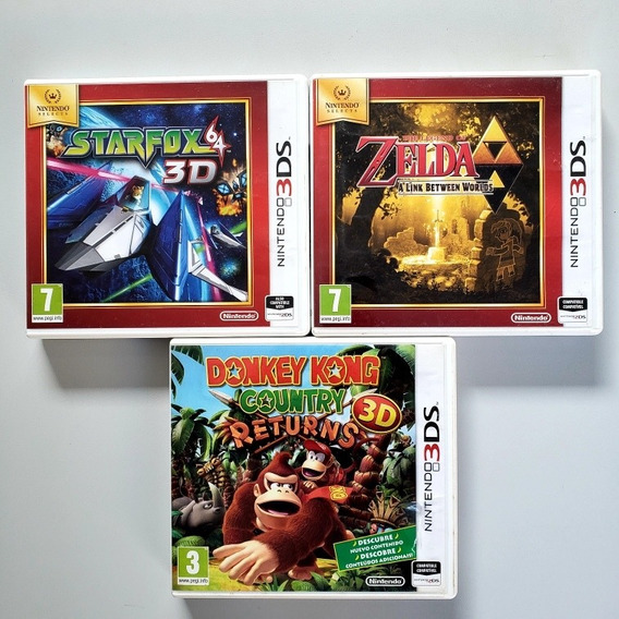 Lote Jogos Europeus Starfox Donkey Kong Zelda 3ds 3ds