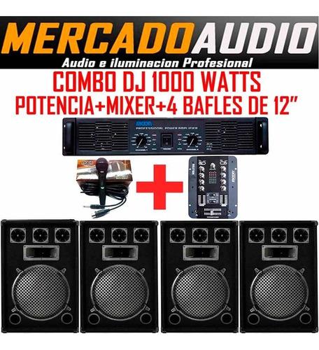 Imagen 1 de 6 de Combo Dj 1000 Watts Potencia+mixer+ 4 Bafles 12+mic
