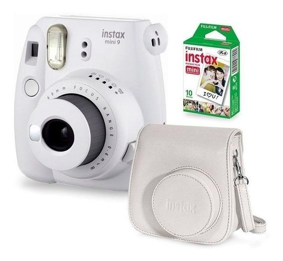Kit Câmera Fujifilm Instax Mini 9 Branca Bolsa Filme 10poses