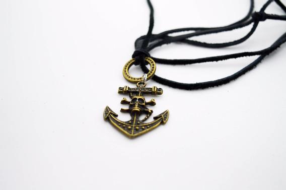 Colar Piratas Do Caribe/ Em Couro Legitimo.
