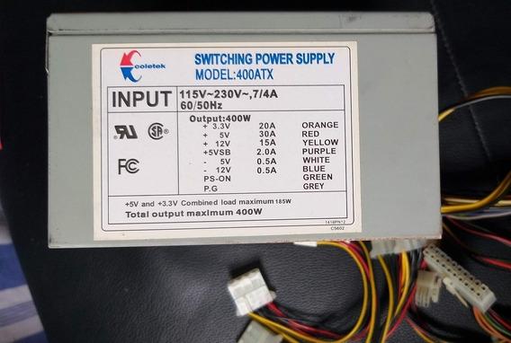 Fonte 400w Coletek Switching Power Supply Mod 400atx Bivolt