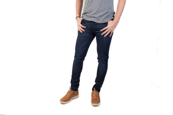 Jeans Hombre Bensimon Ramones Stress Skinny Fit Oscuro