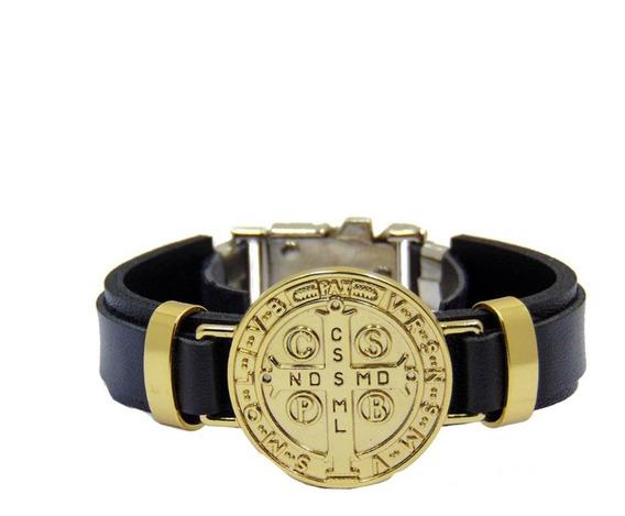 Pulseira Bracelete Masculino Couro Preto Medalha São Bento
