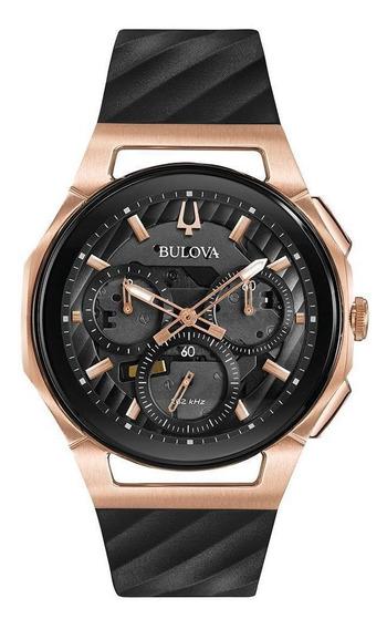Relógio Masculino Bulova Curv Silicone Preto/rosegold 98a185