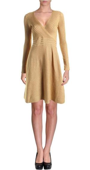 Vestido Sueter Corto Dorado Marca Ralph Lauren Talla L