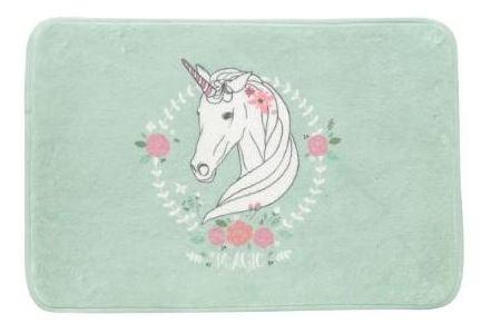 Tapete Poliester Floffy Cute Unicorn Fd Verde 40x60cm