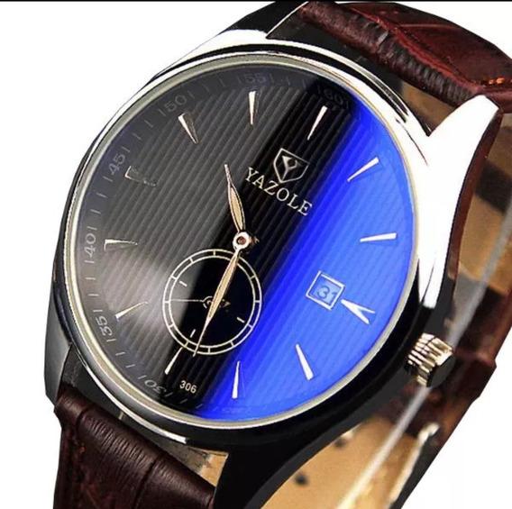 Relógio Fashion Yazole Masculino Couro Promoção