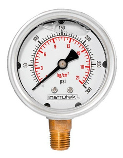 Manómetro Inox Glicerina 2.5 Plg , 300 Psi (aire, Agua)