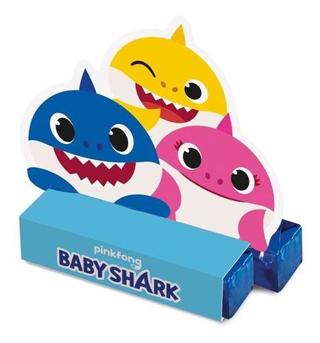 Imagem 1 de 1 de Caixa Para Bis Lembrancinha Baby Shark C/8 Unidades Oficial