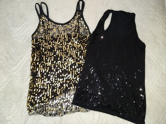 Lote 2 Musculosas Mujer Talle 1 Lentejuelas