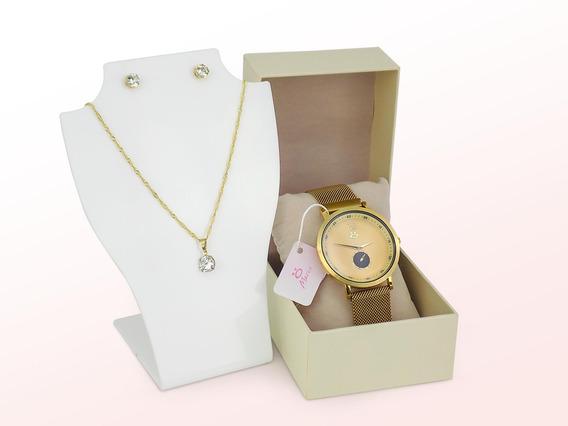 Relógio Feminino Analógico Aço Inox Pulseira Magnética Colar