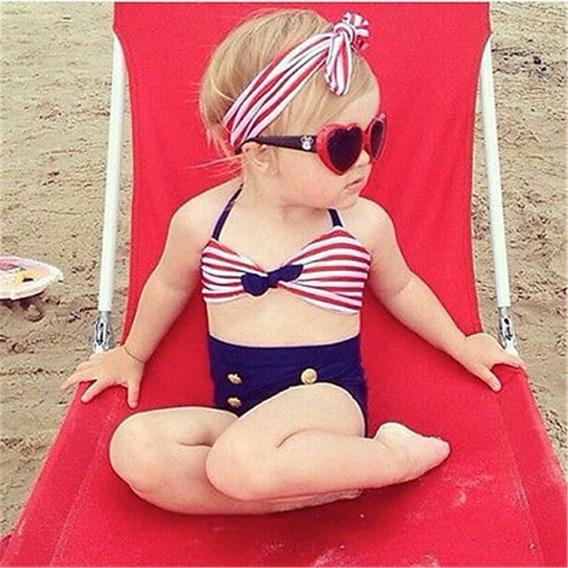 Conjunto Bebê Menina Moda Praia Biquíni Laço Promoção
