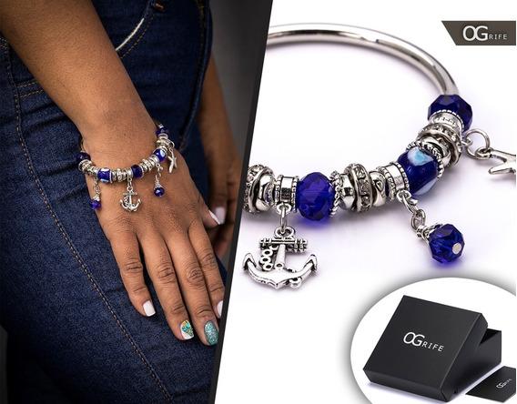 Pulseira Bracelete Feminino Aço Inox J-156 Estilo Pandora