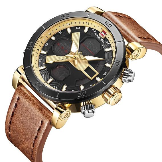 Relógio Masculino Esportivo Naviforce 9132 Original Couro