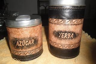 Latas Yerba Y Azùcar Con Pico Vertedor Y Forradas En Badana