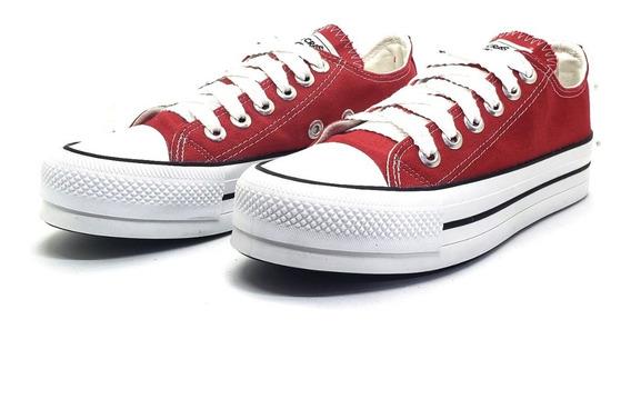 Zapatilla Tipo All Star Converse Roja Con Plataforma