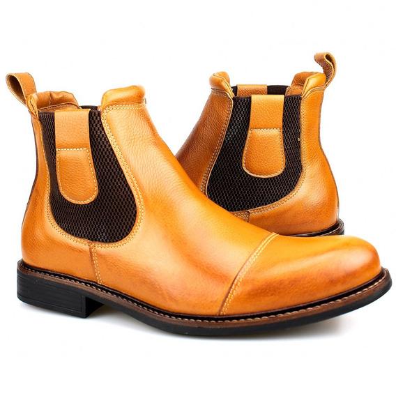 Bota Botina Sapato Coturno Masculino Homem Em Couro Novo
