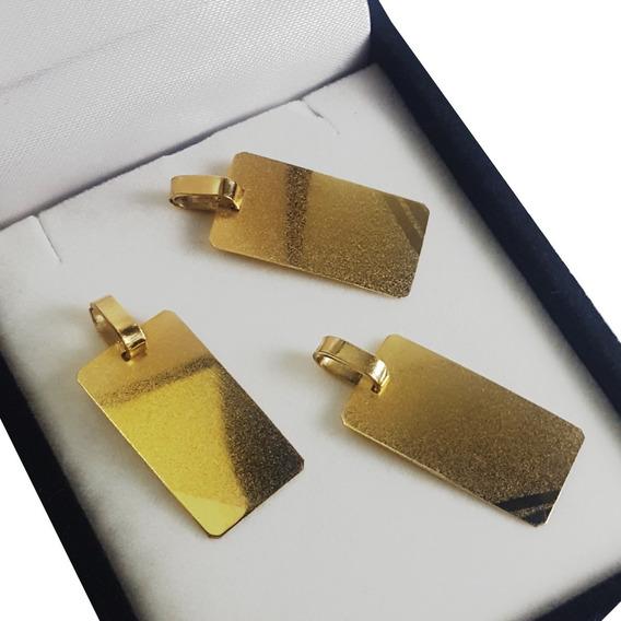 Dije Medalla Oro 18k Rectangular 1.8 Gr Grabado Hombre Mujer