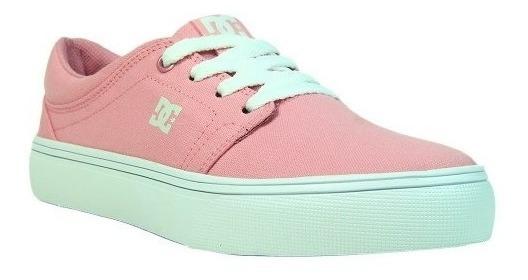 Tênis Dc Shoes Feminino Rosa Branco Trase Tx W Original Skate Casual Confortável Promoção Envio Imediato