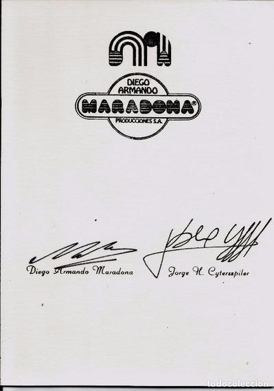 Tarjeta Firmada Por Diego Maradona Y Cytersepiler Autografo