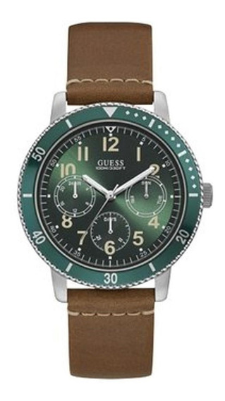 Modelo Varon Reloj Guess Smith W1169g1- Caballero Cafe/verd