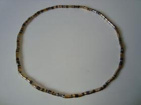 Colar Metal Prateado Oxidado Dourado Articulado Maleável 2