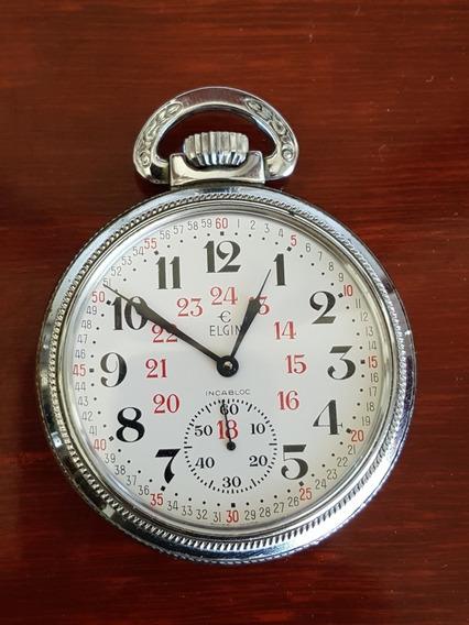 Reloj Elgin Ferrocarrilero De Bolsillo Antiguo Con Detalles2