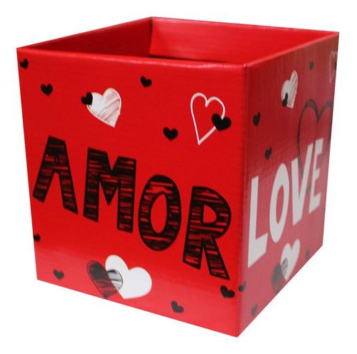 Imagem 1 de 1 de 10 Cachepôs Grandes Quadrados Papel Estampado Love Amor