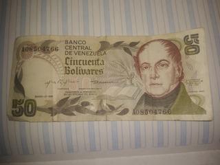 Billetes De Colección De Cincuenta Bolívares Enero 1981