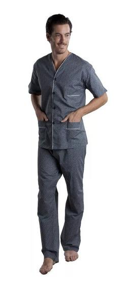 Pijama Talle Especial Abotonado Manga Corta Pantalon Largo