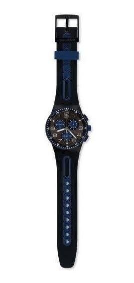Relógio Swatch Kaicco Susb406 Silicone Preto E Azul Original