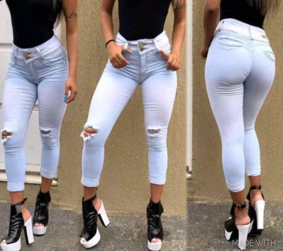 Calça Capri Jeans - Claro - Lycra Strech Tamanhos