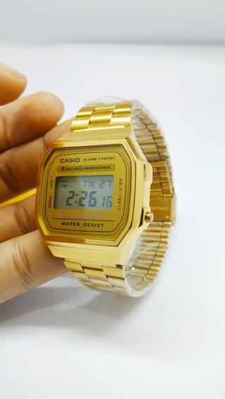 Relógio Casio Vintage Dourado A168 Unissex Retrô