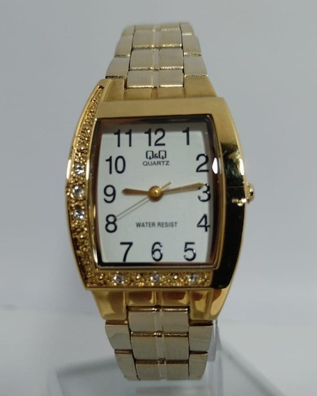 Relógio Q&q By Citizen Dourado Fundo Branco - Q693-801y