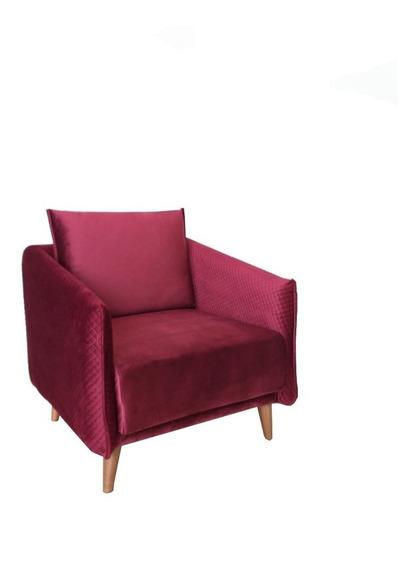 Sofa / Sillón Ocasional Individual Decoración Diseño Mueble Sala De Interior Tapizado Terciopelo Madera Pino