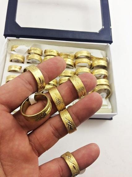 36 Anel Aço Inoxidável 316l Dourado Trabalhado 7mm Revenda