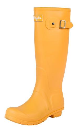 Botas Lluvia Altas Mujer Wellington Bottplie Amarillo Matte