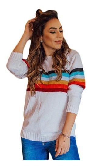 Blusa Feminina Trico Tricot Colorida Tendencia Foto Real