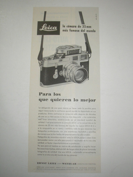 ( L - 290/ Ge ) Propaganda Antiga Câmera Fotográfica Leika