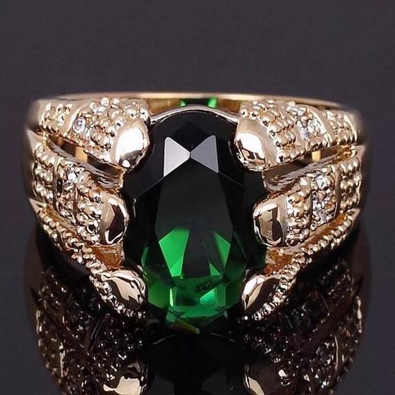 Anel Masculino Banhado A Ouro Com Pedra Verde Esmeralda Top