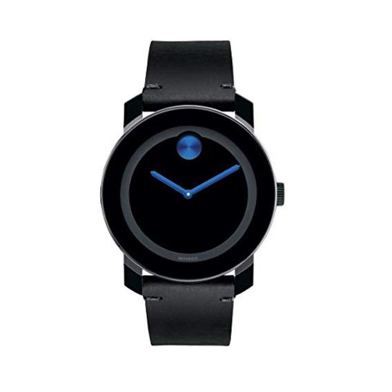 Movado Reloj De Hombre Y Cuero Negro Cuarzo