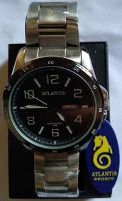 Relógio Atlantis G3245 Prata Fundo Preto Masc - Envio Já