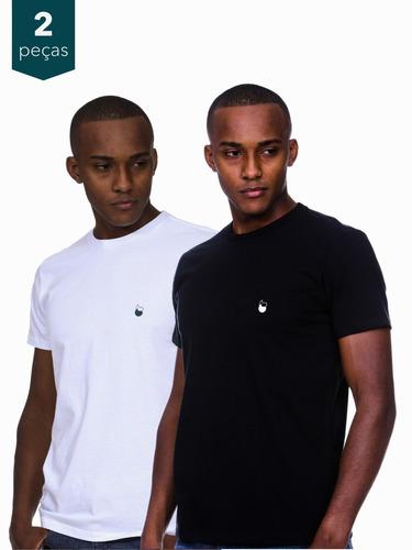 Imagem 1 de 7 de Kit 2 Camisetas Masculinas Algodão - Estampa Gota