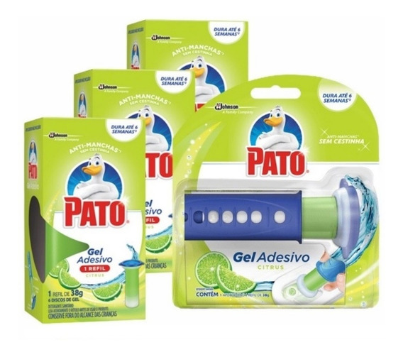 Gel Adesivo Sanitário Pato Citrus Aplicador + 4 Refil