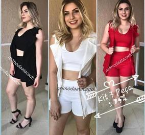 Conjunto Feminino Cropped Short Blazer Com 3 Peças Inverno