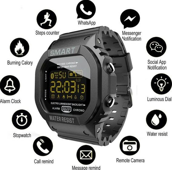Relógio Inteligente Multifunções Preto Militar Promoção