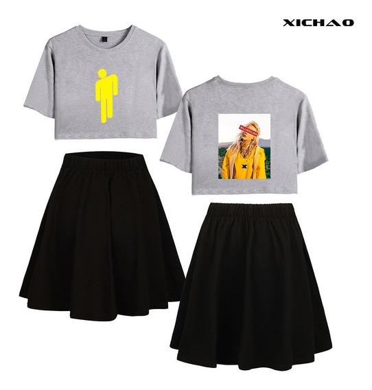 Billie Eilish Corto Manga T - Camisa Mitad Falda Set