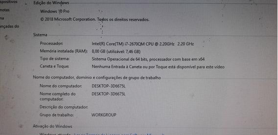 Notebook Intel Core I7 8gb