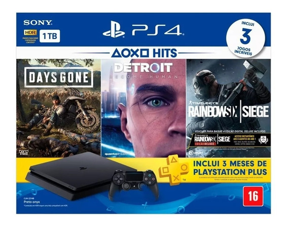Console Ps4 Playstation 4 Hits Slim 1tb 3 Jogos Físico