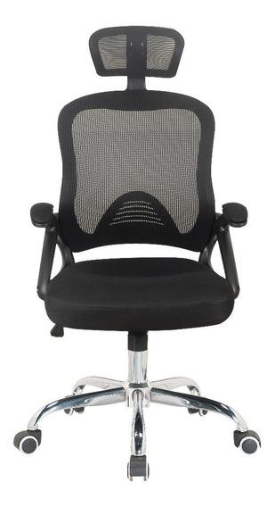 Cadeira Presidente Office Com Apoio De Cabeça Preta